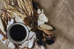Chinese Medical Herbs. With a cup of herbal extracts royalty free stock images