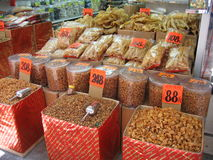 Chinese medicine. Vats of Chinese dried foods and medicine in Hong Kong Royalty Free Stock Photo