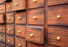 Chinese medicine cabinet or drawer. For background stock photography