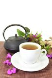 Chinese Medicine. A cup of herbal tea and Chinese medicinal herbs Stock Photography