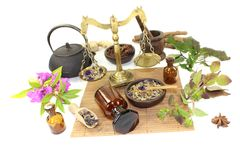 Chinese medicine with plants and mortar Stock Images