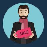 Chinese mens die een verkoopteken houden vector illustratie