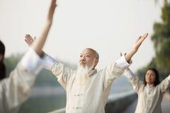 Chinese Mensen die Tai Ji, Opgeheven Wapens uitoefenen, in openlucht royalty-vrije stock foto's