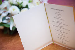 Chinese menu blank page. Blank page in Chinese dinner menu at restaurant Royalty Free Stock Images