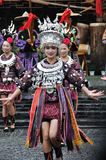The chinese miao dancing. The Chinese Miao young women was dancing in the celebration. The photo was taken in the Miao ethnic minority village in Xijiang,Kaili Royalty Free Stock Image