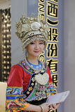 Chinese miao ethnic exhibitor wearing silver Royalty Free Stock Photos