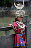 The chinese miao girl. A Miao girl was displaying Miao's traditional cloth with silver headdresses and ornaments in Zhenyuan ,Guizhou,China. Photo taken on: May royalty free stock image