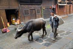 Chinese Miao nationaliteitslandbouwer Stock Afbeelding