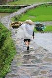 Chinese Miao nationaliteitslandbouwer in de regen stock foto
