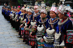 The chinese miao old women. With traditional clothes to welcome guest.in Miao Village ( or Villages of Thousands of Miao House-holds) in Xijiang,Kaili,Guizhou Stock Photography