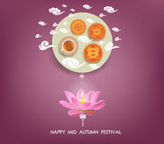 Chinese mid autumn festival background with lotus lantern, tea and cake Royalty Free Stock Photography