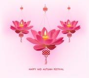 Chinese mid autumn festival background. Lotus lanterns Stock Image