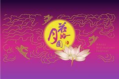 Chinese mid autumn festival. Chinese character `reunion` and Seal meaning `mid autumn festiva Royalty Free Stock Image