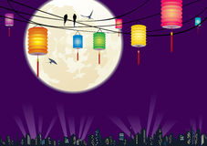 The Chinese Mid-autumn festival city night scene b Stock Photos