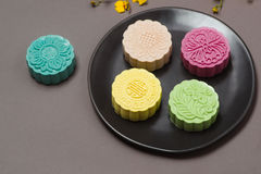 Chinese mid autumn festival food. Traditional moon cake shot Stock Photos