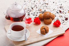 Chinese mid autumn festival foods. Traditional Chinese moon cakes. On table setting with teacup stock images