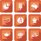 Chinese mid autumn festival icon set Stock Images