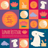 Chinese mid autumn festival icons in flat style Royalty Free Stock Photography