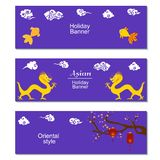 Chinese mid Autumn Festival or New Year design flyers. Set of three holiday banners with asian clouds,dragons, sakura. Branch and paper cut lanterns on purple stock illustration
