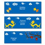 Chinese mid Autumn Festival or New Year design flyers. Set of three holiday banners with asian clouds,dragons, sakura. Branch and paper cut lanterns on blue royalty free illustration