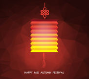 Chinese mid autumn festival polygonal background. Lotus lantern Royalty Free Stock Image