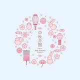 Chinese mid autumn festival. Symbol, Chinese character `Zhong Qiu` - Linear icon set Royalty Free Stock Photo