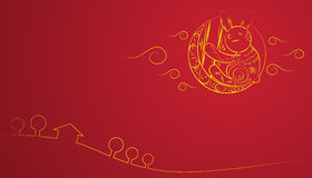Chinese Mid Autumn Festival yellow moon rabbit red background Royalty Free Stock Photo