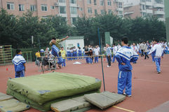 Chinese middle school high jump competition Stock Image