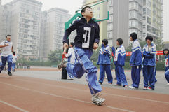 Chinese middle school running game Royalty Free Stock Photo