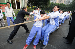 Chinese middle school Tug of war competition Royalty Free Stock Image