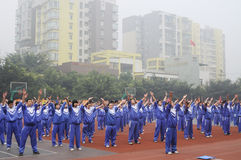 Chinese middle students do morning exercises Stock Photography