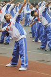 Chinese middle students do morning exercises. In chengdu ,sichuan,china Royalty Free Stock Photography