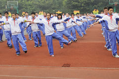 Chinese middle students do morning exercises. In chengdu ,sichuan,china Royalty Free Stock Image