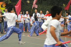 Chinese middle students relay race. In chengdu ,sichuan,china Stock Image