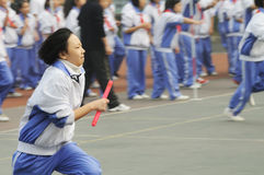 Chinese middle students relay race Stock Photos