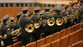 Chinese military band leaving the hall after parliament meeting Royalty Free Stock Photography