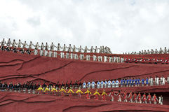 Chinese minderheidsactoren in het openluchttheater per Stock Fotografie