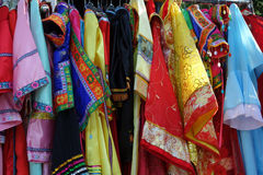Chinese minority colorful clothes. Chinese colorful set minority dress stock photos