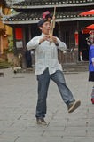 Chinese minority man dancing Stock Image