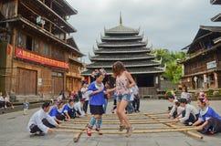 Chinese minority people  dancing Royalty Free Stock Photo