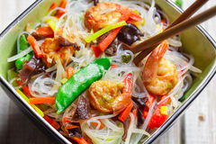 Chinese mix vegetables and rice noodles Stock Photos
