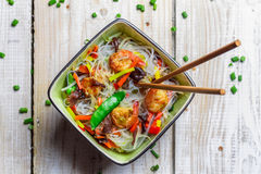 Chinese mix vegetables and rice noodles Royalty Free Stock Photo