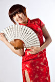 Chinese model in traditional Cheongsam dress Royalty Free Stock Images