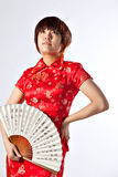 Chinese model in traditional Cheongsam dress Royalty Free Stock Photography