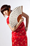 Chinese model in traditional Cheongsam dress Stock Photography
