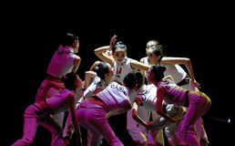 Chinese modern group dance : Quick Tongue Wei Royalty Free Stock Image
