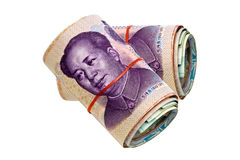 Chinese moeny. Two rolls of chinese money isolated on white background royalty free stock photography