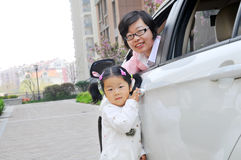 Chinese Mom and daughter royalty free stock images