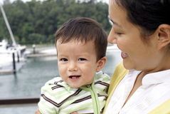 Chinese mom and multiracial son Stock Images