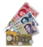 Chinese money. Chinese main landl currency with some coins Royalty Free Stock Photography